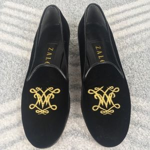 ZALO Velvet Embroidered Needlepoint Loafers